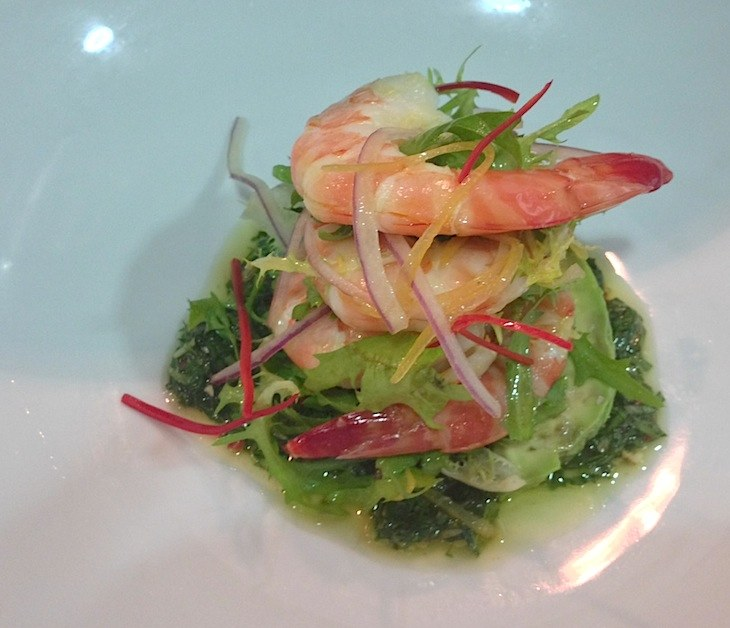 Cooked tiger prawn salad w/ avocado, preserved lemon & herb pine nut dressing