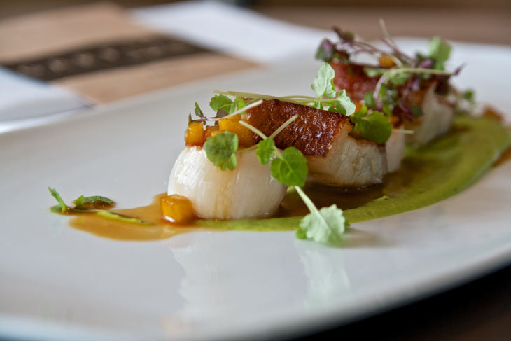 seared scallops pork belly