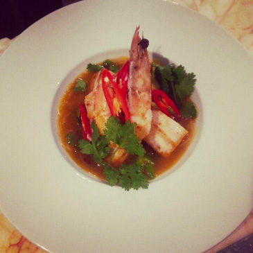 Seard-swordfish-king-prawn-hot-pot