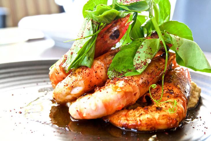 Crows Nest Autumn menu feature: king prawns w/ baba ghanoush