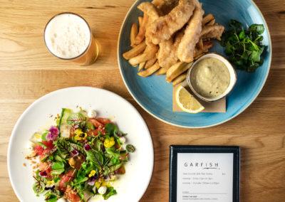 Prix Fixe - Fish & Chips, Botanical Cured Salmon