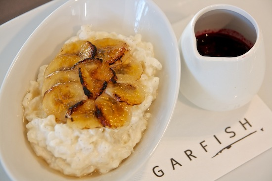 Featured recipe: Coconut rice pudding with caramelised banana and berry compote
