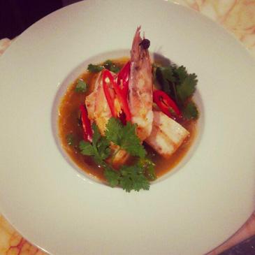 Seard-swordfish-king-prawn-hot-pot