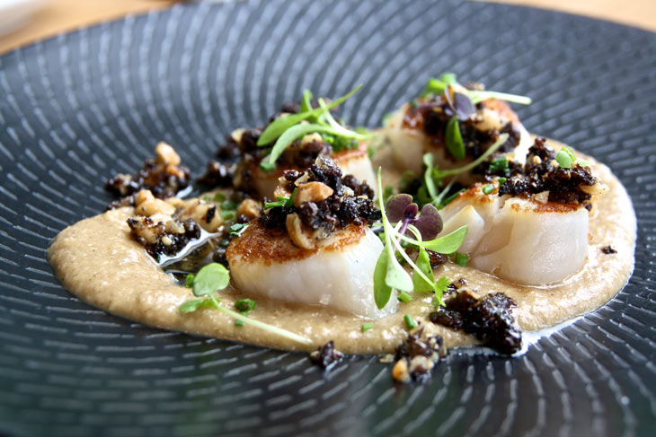 Manly autumn menu feature: grilled scallops w/ black pudding, spiced apple puree, hazelnut crumble & baby cress